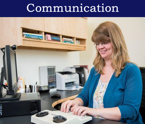Photo of person using equipment captioned Communication